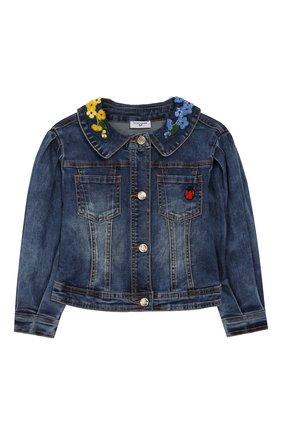 Детская джинсовая куртка MONNALISA синего цвета, арт. 195100R1 | Фото 1
