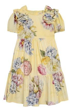 Детское хлопковое платье MONNALISA желтого цвета, арт. 715919 | Фото 1