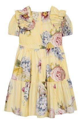 Детское хлопковое платье MONNALISA желтого цвета, арт. 715919 | Фото 2