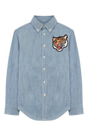 Детская джинсовая рубашка POLO RALPH LAUREN голубого цвета, арт. 323750020 | Фото 1