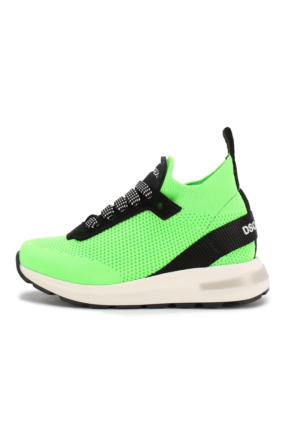 Детские кроссовки DSQUARED2 зеленого цвета, арт. 63518/18-27 | Фото 2
