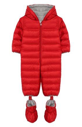 Детский комплект из комбинезона и пинеток MONCLER красного цвета, арт. F1-951-1G500-00-C0401/3M-12M | Фото 1