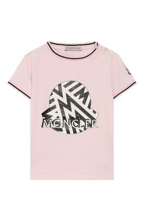 Детский хлопковая футболка MONCLER розового цвета, арт. F1-951-8C702-10-8790A | Фото 1