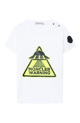Детский хлопковая футболка MONCLER белого цвета, арт. F1-951-8C701-20-8790A | Фото 1