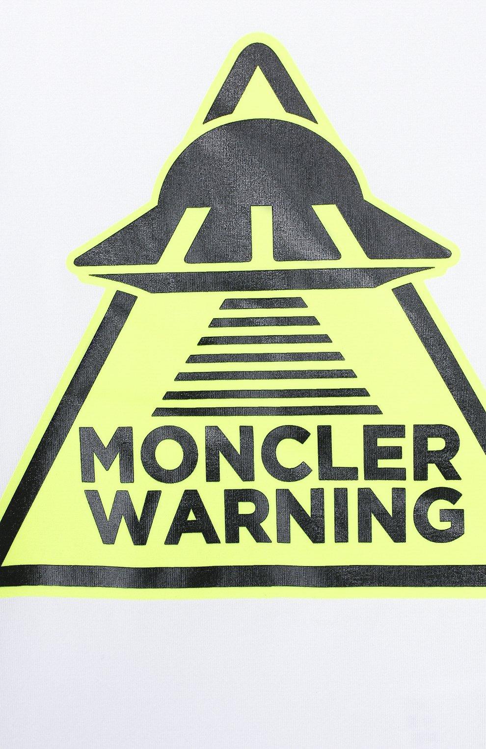 Детский хлопковая футболка MONCLER белого цвета, арт. F1-951-8C701-20-8790A | Фото 3
