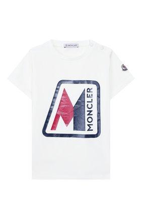 Детский хлопковая футболка MONCLER белого цвета, арт. F1-951-8C700-20-8790A | Фото 1