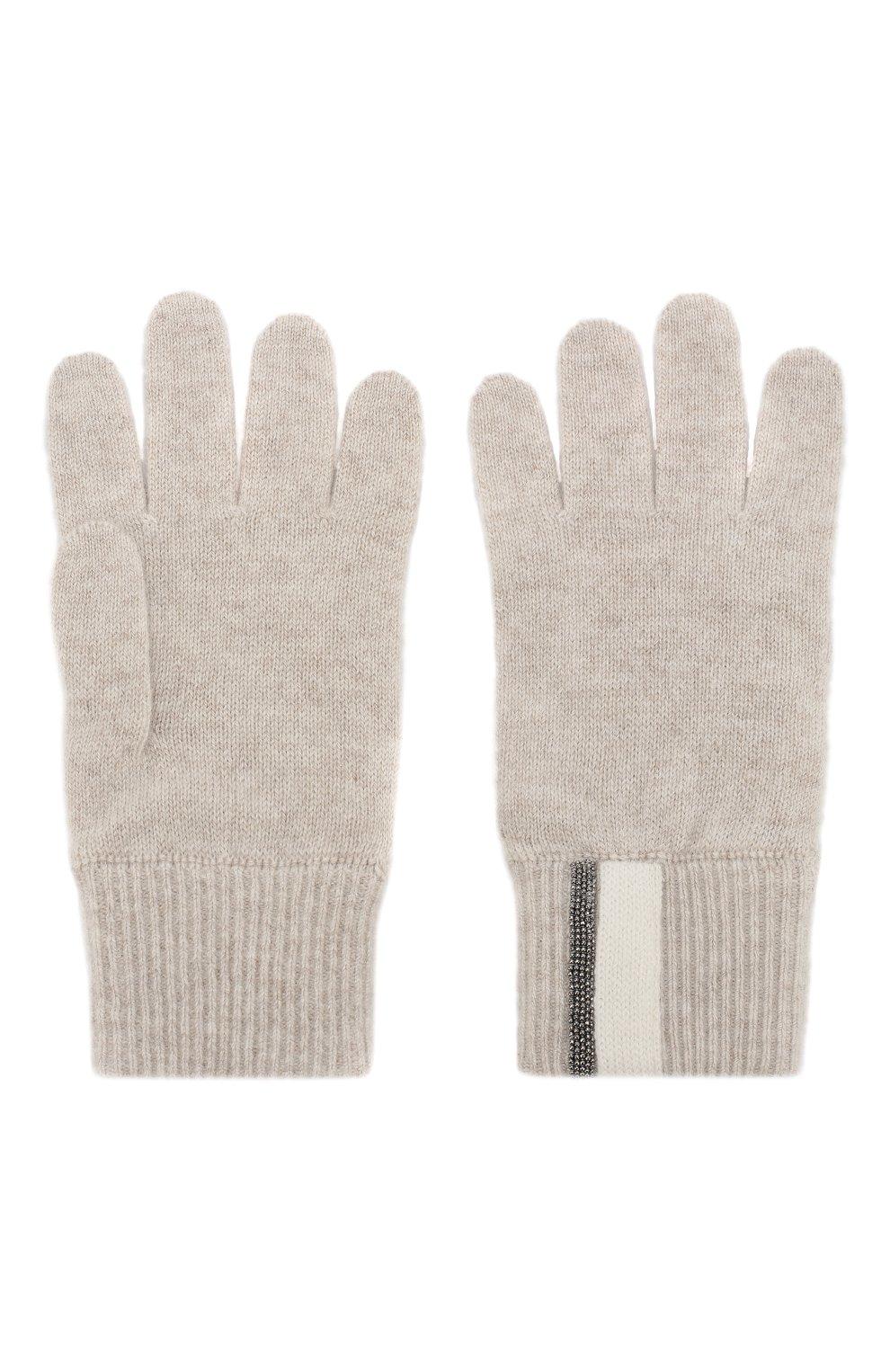 Детские кашемировые перчатки BRUNELLO CUCINELLI бежевого цвета, арт. B12162889B | Фото 2