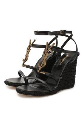 Женские кожаные босоножки espadrille SAINT LAURENT черного цвета, арт. 557208/0MUTT | Фото 1