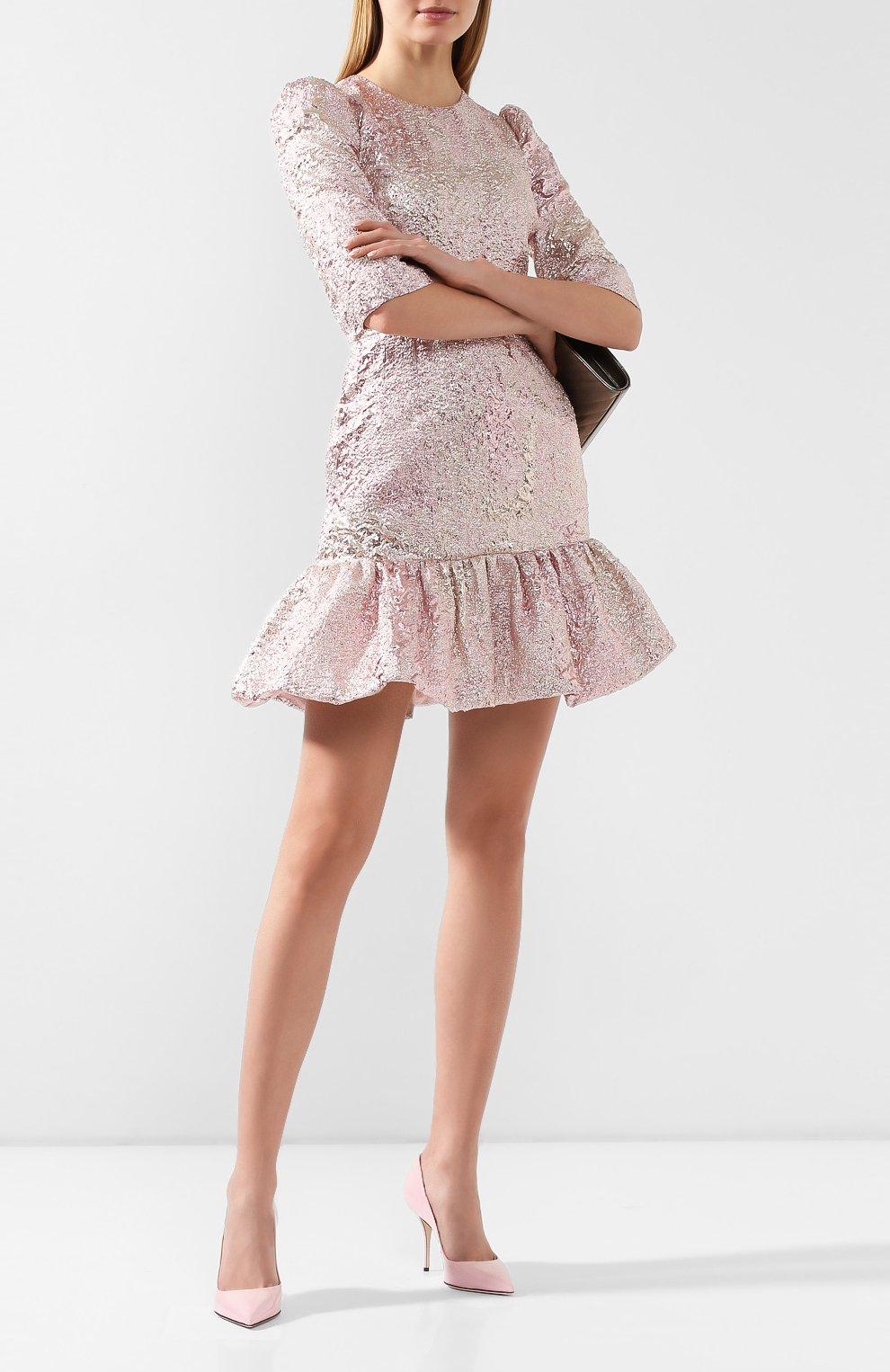 Женские кожаные туфли cardinale DOLCE & GABBANA светло-розового цвета, арт. CD1495/A1471 | Фото 2
