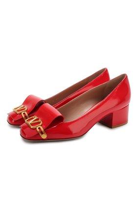 Женская кожаные туфли valentino garavani vlogo club VALENTINO красного цвета, арт. TW2S0V57/EYQ | Фото 1