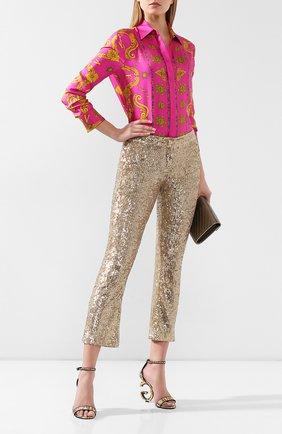 Женские текстильные босоножки keira DOLCE & GABBANA золотого цвета, арт. CR0739/AJ707 | Фото 2