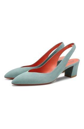 Женская замшевые туфли SANTONI голубого цвета, арт. WDHC58660HI2RMGDV46 | Фото 1