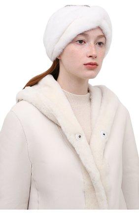 Женская повязка из меха норки KUSSENKOVV белого цвета, арт. 161700001019 | Фото 2