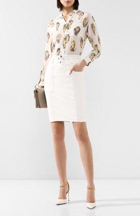 Женская кожаная юбка TOM FORD белого цвета, арт. GCL791-LEX228 | Фото 2