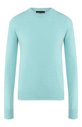 Женский кашемировый пуловер GIORGIO ARMANI бирюзового цвета, арт. 3HAM17/AM83Z | Фото 1 (Материал внешний: Шерсть, Кашемир; Рукава: Длинные; Длина (для топов): Стандартные; Статус проверки: Проверена категория; Женское Кросс-КТ: Пуловер-одежда)