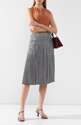 Женская шелковая юбка KITON темно-синего цвета, арт. D49206K09S75 | Фото 2