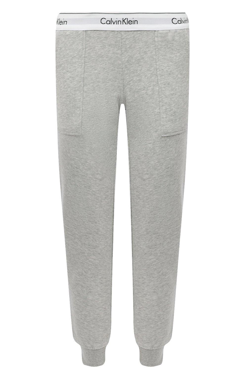 Женские хлопковые брюки CALVIN KLEIN серого цвета, арт. QS5716E   Фото 1