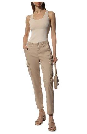 Женские брюки из смеси хлопка и вискозы 7 FOR ALL MANKIND бежевого цвета, арт. JSL3V950BG | Фото 2