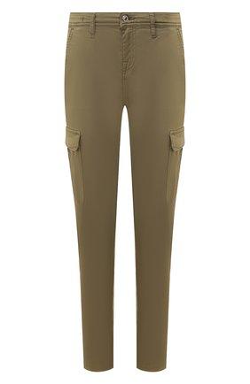 Женские брюки из смеси хлопка и вискозы 7 FOR ALL MANKIND хаки цвета, арт. JSL3V950AR | Фото 1