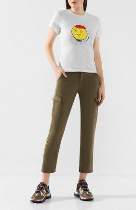 Женские брюки из смеси хлопка и вискозы 7 FOR ALL MANKIND хаки цвета, арт. JSL3V950AR | Фото 2