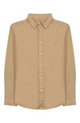 Детская хлопковая рубашка RALPH LAUREN бежевого цвета, арт. 323750013   Фото 1