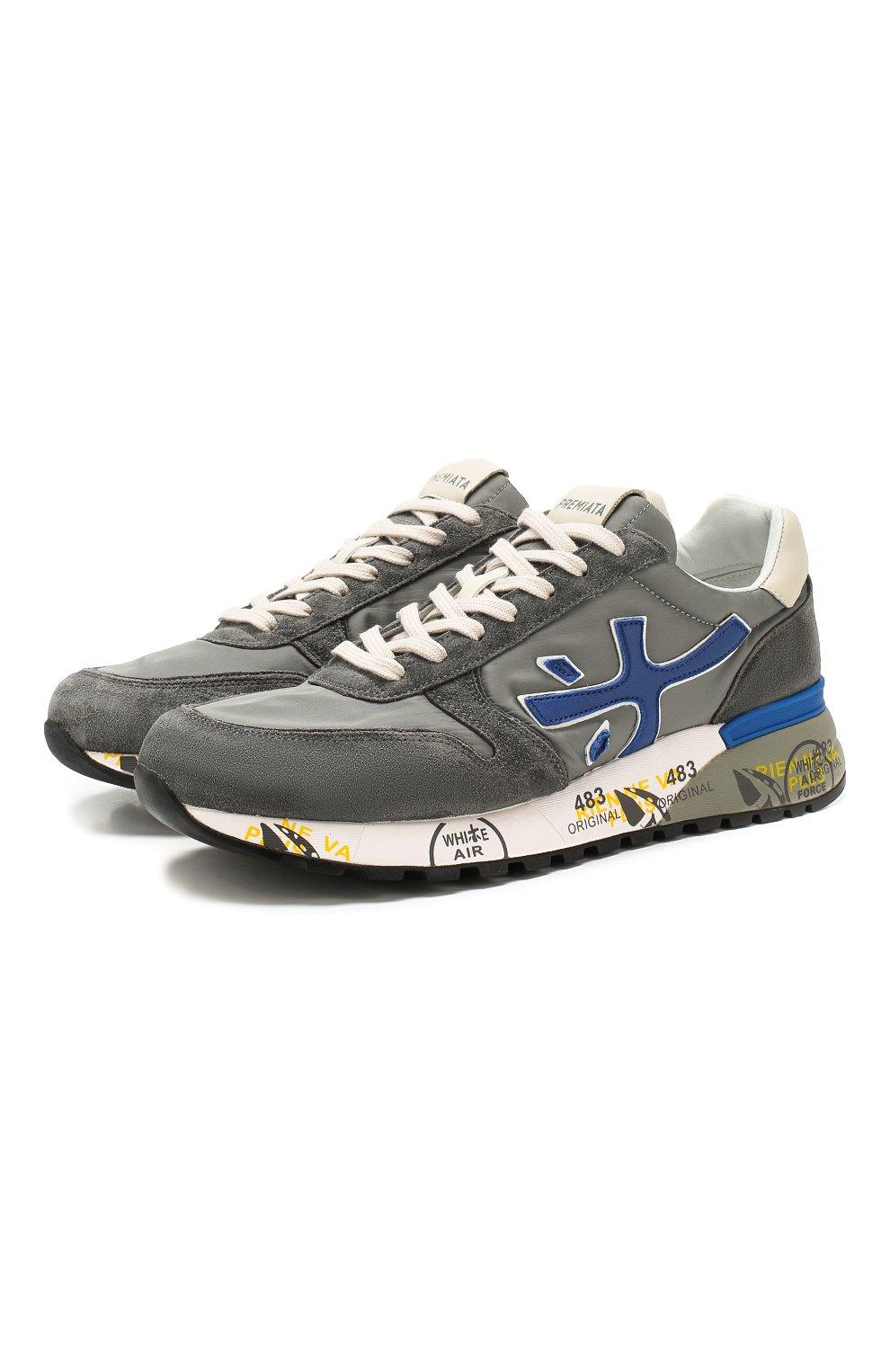 Мужские комбинированные кроссовки mick PREMIATA серого цвета, арт. MICK/VAR4563 | Фото 1