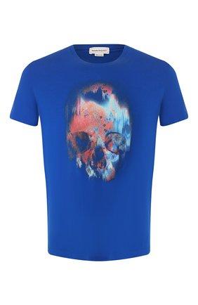 Мужская хлопковая футболка ALEXANDER MCQUEEN синего цвета, арт. 595650/Q0Z60 | Фото 1
