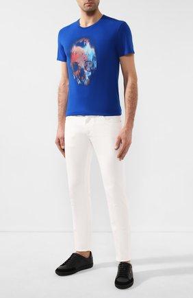 Мужская хлопковая футболка ALEXANDER MCQUEEN синего цвета, арт. 595650/Q0Z60 | Фото 2