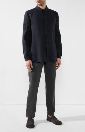 Мужская льняная рубашка TRANSIT темно-синего цвета, арт. CFUTRKT295   Фото 2