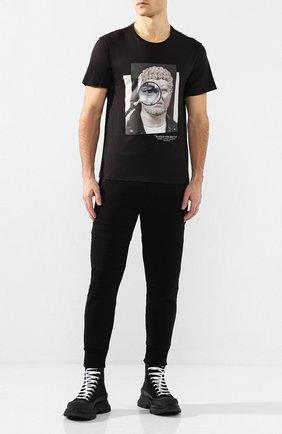 Мужской джоггеры из вискозы NEIL BARRETT черного цвета, арт. PBJP177/N513C | Фото 2