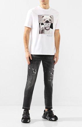 Мужские джинсы NEIL BARRETT серого цвета, арт. PBDE285/N802T | Фото 2