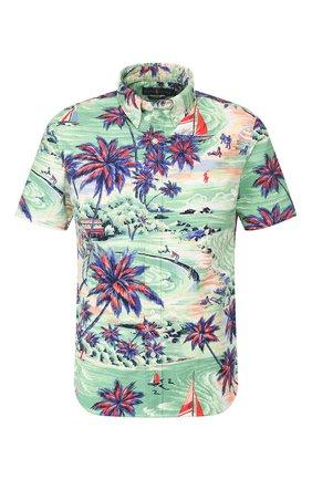 Мужская хлопковая рубашка POLO RALPH LAUREN зеленого цвета, арт. 710794143/4314B | Фото 1
