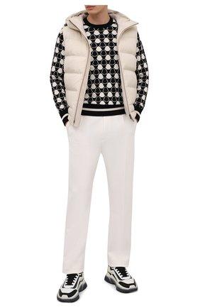 Мужской хлопковый джемпер MONCLER черно-белого цвета, арт. F1-091-9C716-00-V9001 | Фото 2