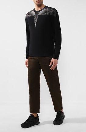Мужская хлопковый лонгслив MARCELO BURLON черного цвета, арт. CMAB007R20JER002   Фото 2