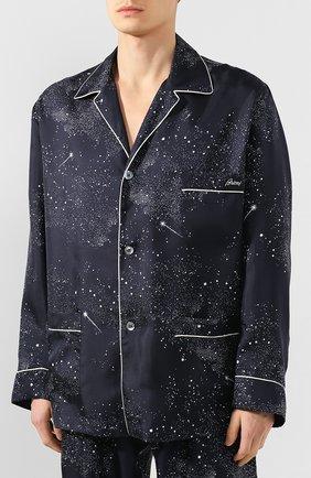 Мужская шелковая пижама BRIONI темно-синего цвета, арт. NBP30L/P943N | Фото 2