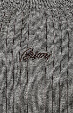 Мужские носки из смеси хлопка и шелка BRIONI светло-серого цвета, арт. 0VMC00/P9Z04 | Фото 2