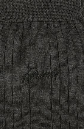 Мужские носки из смеси хлопка и шелка BRIONI темно-серого цвета, арт. 0VMC00/P9Z04 | Фото 2