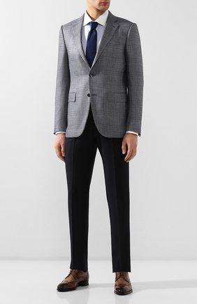 Мужской пиджак из смеси шелка и шерсти ERMENEGILDO ZEGNA голубого цвета, арт. 749067/121220 | Фото 2