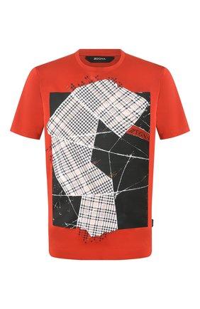 Мужская хлопковая футболка Z ZEGNA красного цвета, арт. VU372/ZZ630E   Фото 1