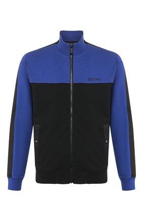 Мужской хлопковая толстовка Z ZEGNA синего цвета, арт. VU458/ZZ894B | Фото 1 (Длина (для топов): Стандартные; Материал внешний: Хлопок; Рукава: Длинные; Статус проверки: Проверена категория; Мужское Кросс-КТ: Толстовка-одежда; Стили: Спорт-шик)