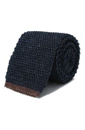 Мужской галстук из смеси хлопка и льна BRUNELLO CUCINELLI темно-синего цвета, арт. MQ8560018 | Фото 1