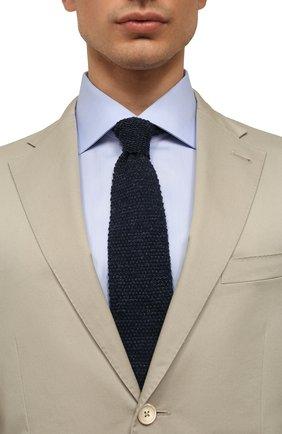 Мужской галстук из смеси хлопка и льна BRUNELLO CUCINELLI темно-синего цвета, арт. MQ8560018 | Фото 2