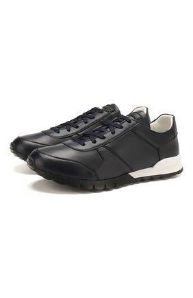 Мужские кожаные кроссовки KITON темно-синего цвета, арт. USSVLAEN00648 | Фото 1 (Материал внутренний: Натуральная кожа; Подошва: Массивная; Статус проверки: Проверена категория; Стили: Классический)