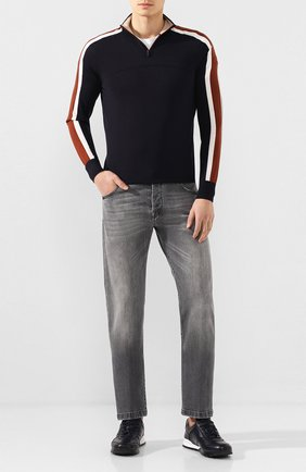 Мужские кожаные кроссовки KITON темно-синего цвета, арт. USSVLAEN00648 | Фото 2 (Материал внутренний: Натуральная кожа; Подошва: Массивная; Статус проверки: Проверена категория; Стили: Классический)