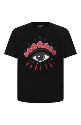 Мужская хлопковая футболка holiday KENZO черного цвета, арт. F965TS0384Y7   Фото 1