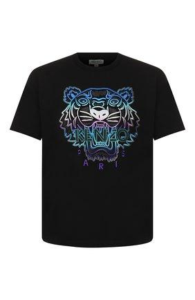 Мужская хлопковая футболка holiday KENZO черного цвета, арт. F965TS0844Y9   Фото 1