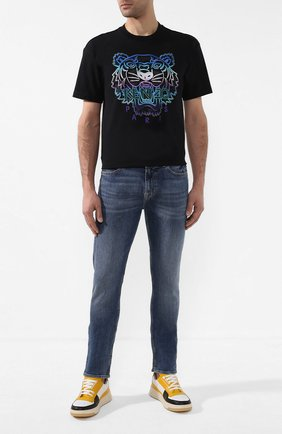 Мужская хлопковая футболка holiday KENZO черного цвета, арт. F965TS0844Y9   Фото 2