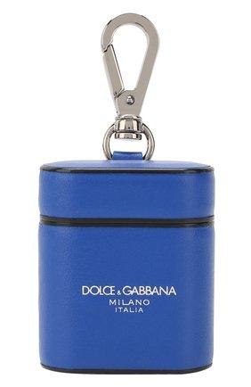 Мужской кожаный чехол для airpods DOLCE & GABBANA синего цвета, арт. BP2581/AJ802 | Фото 1