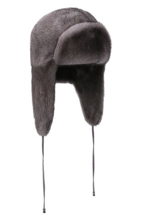 Женская шапка-ушанка из меха норки KUSSENKOVV серого цвета, арт. 090600010094   Фото 1 (Материал: Натуральный мех)