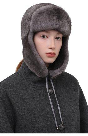 Женская шапка-ушанка из меха норки KUSSENKOVV серого цвета, арт. 090600010094   Фото 2 (Материал: Натуральный мех)